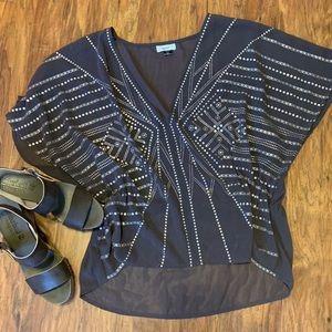 Sanctuary shear embellished xl blouse
